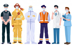thank-you-essential-workers-concept-various-occupations-people-wearing-face-masks_218660-23